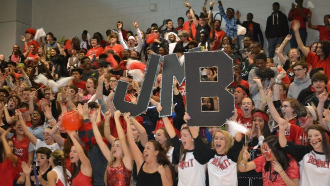 In this May 2, 2015 photo, students at James M. Bennett High School in Salisbury participate in a pep rally after participating in a lip dub video at the school.