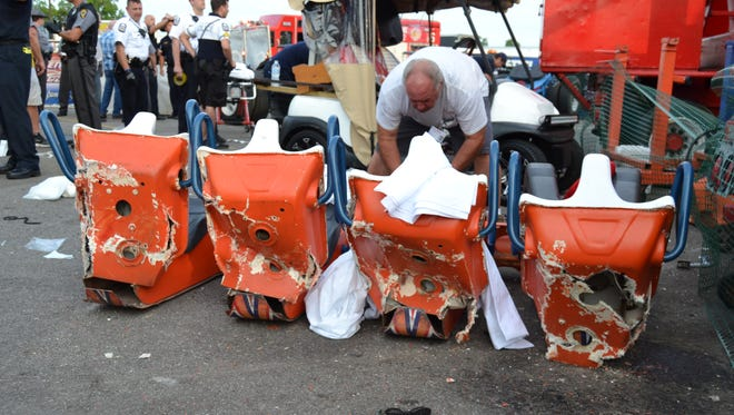 The four seats from the gondola that broke off the Fire Ball ride at the Ohio State Fair in July 2017. This photo was part of the Highway Patrol investigation.