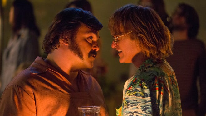 "Jack Black (left) and Joaquin Phoenix star in ""Don't Worry, He Won't Get Far on Foot."""