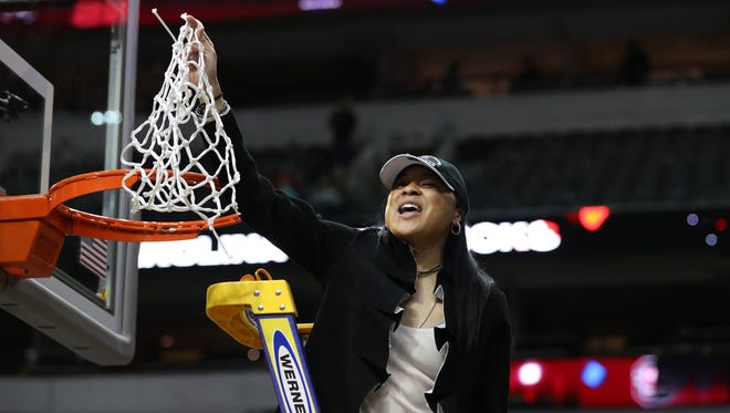 South Carolina Gamecocks head coach Dawn Staley celebrates the national title.