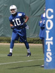 Sunday May 18th, #10, Donte Moncrief runs plays during the Indianapolis Colts rookie mini camp.