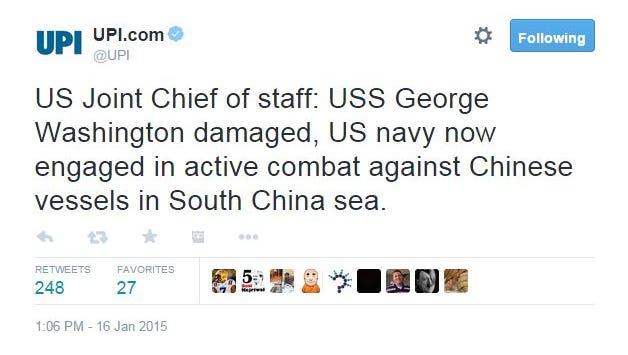 UPI tweeted out a fake report claiming a U.S. warship had been hit by a Chinese missile.