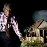 A detail in the diorama of the sharecropper's home that Jother Woods, 86, of Detroit grew up in.
