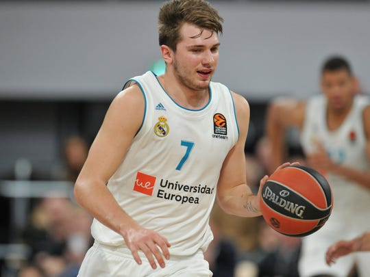 epa06402144 Luka Doncic of Real Madrid in action during