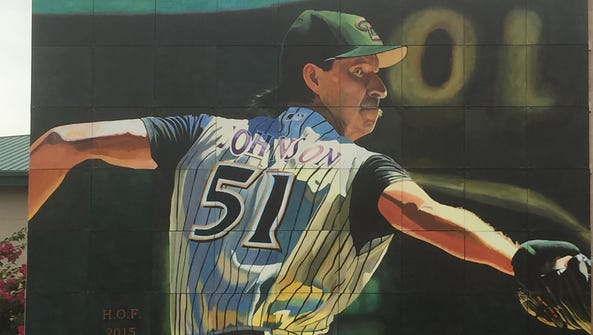 The large mural of Randy Johnson created by Peoria
