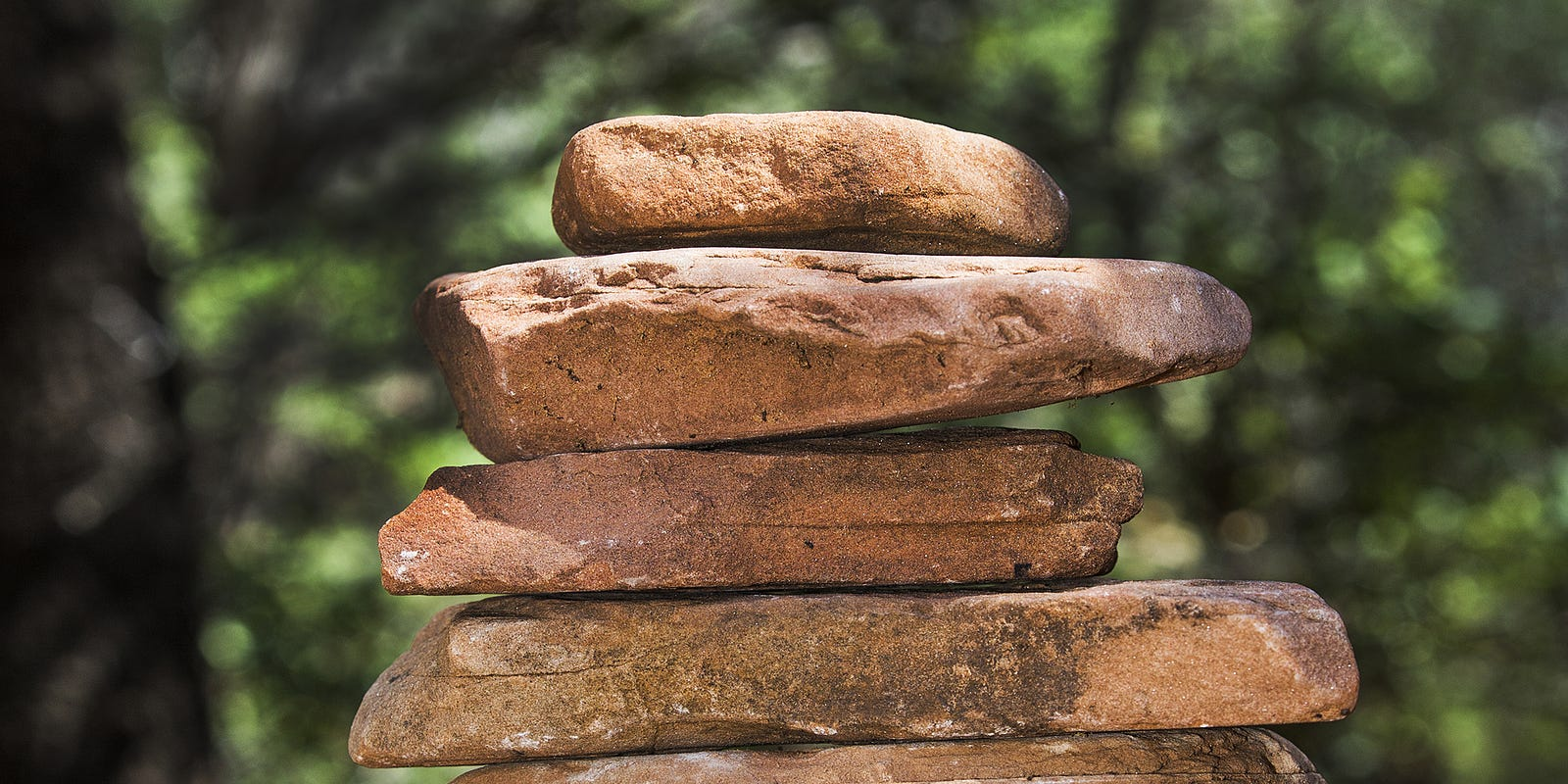 Stacks Of Stones In The Woods