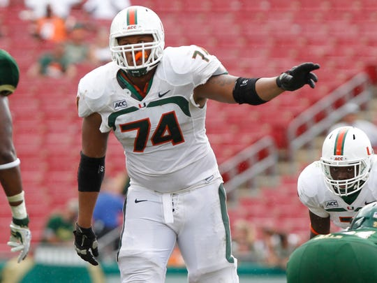 Miami's Ereck Flowers would provide the Colts another intriguing prospect along the offensive line.