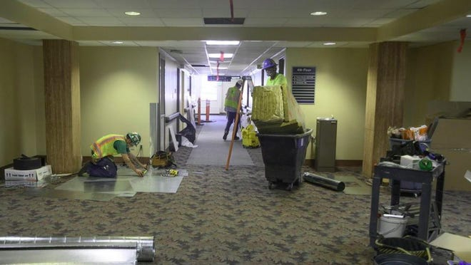 [CHIEFTAIN FILE PHOTO/ZACHARY ALLEN] Construction was done at St. Mary-Corwin Medical Center to convert two floors in the east tower into an alternative care site for COVID-19 patients.