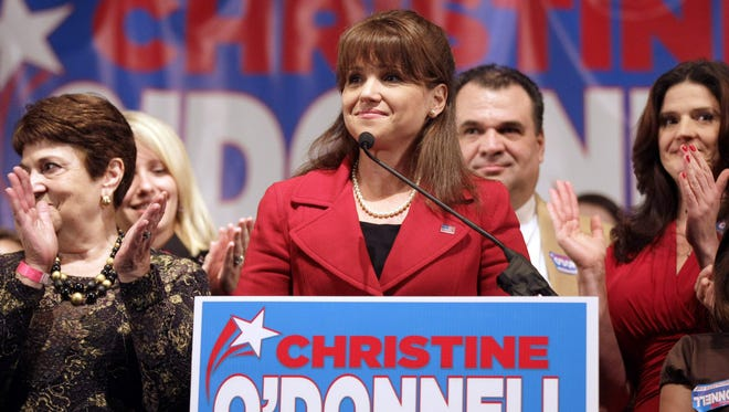 Christine O'Donnell appears in Dover during her campaign for the U.S. Senate in 2010. O'Donnell and her campaign committee have offered to pay a $10,000 civil penalty after a federal judge ruled that they violated federal campaign finance laws.