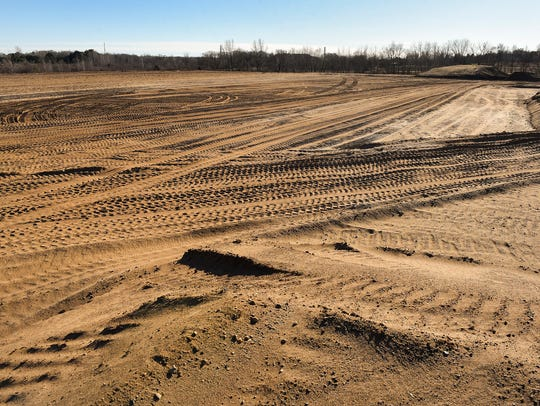 The site of the football field has been cleared at the site of the new Technical High School, shown Tuesday, Nov. 28.