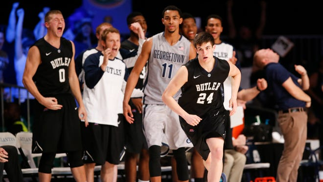 Butler Bulldogs guard Kellen Dunham (24) reacts after scoring during the game against the Georgetown Hoyas at Imperial Arena at Atlantis Resort.