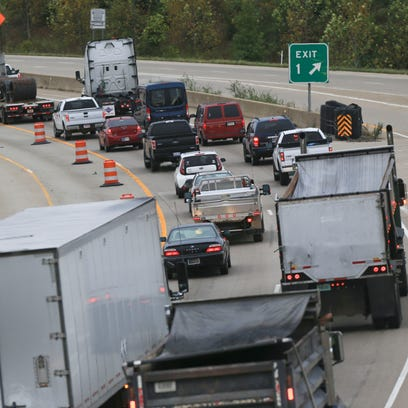 Traffic slows on I-65 in Clarksville.