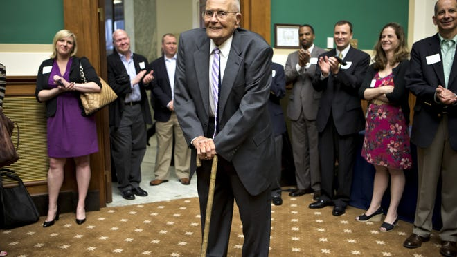 Rep. John Dingell, D-Dearborn, is celebrated by colleagues on Capitol Hill in Washington, D.C., on June 7, 2013, as he becomes the longest-serving member of Congress with his 20,997th day as a representative.