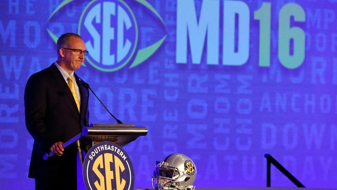 Jul 11, 2016; Hoover, AL, USA; Southeastern Conference commissioner Greg Sankey speaks during SEC media day at Hyatt Regency Birmingham-The Wynfrey Hotel. Mandatory Credit: Butch Dill-USA TODAY Sports