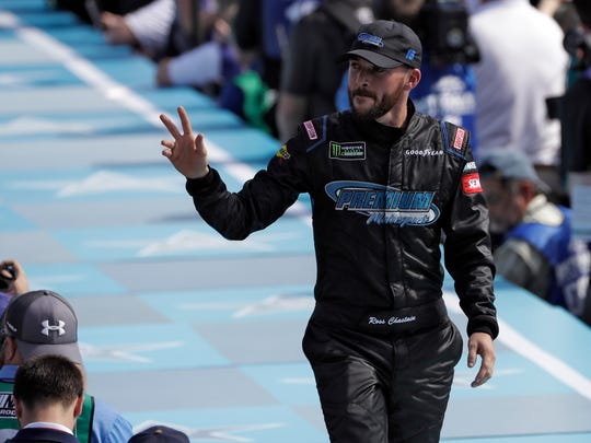 Ross Chastain waves to fans during the drivers introductions before the NASCAR Daytona 500 auto race Sunday, Feb. 17, 2019, at Daytona International Speedway in Daytona Beach, Fla. (AP Photo/Chris O'Meara)