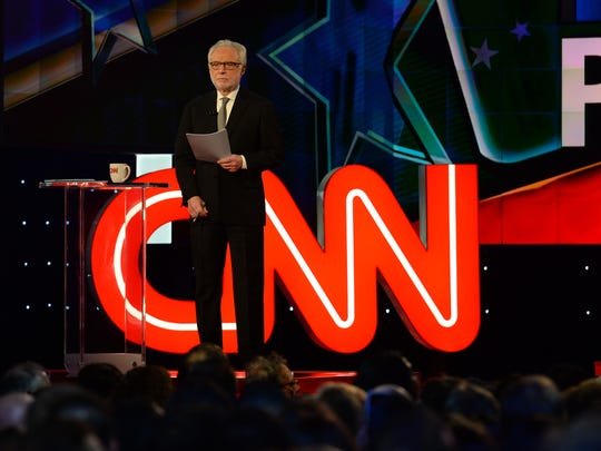 Wolf Blitzer  just prior to the Democratic presidential candidate debate at Brooklyn Navy Yard.