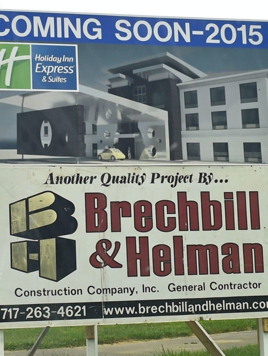 Work continues at the Holiday Inn Express & Suites under construction by Brechbill & Helman Construction Co., on Monday in Shippensburg.