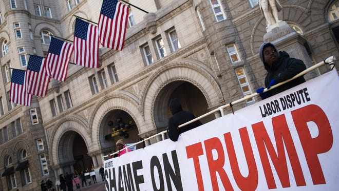 Protesters at the Trump International Hotel in Washington, D.C., on Oct. 25, 2016.