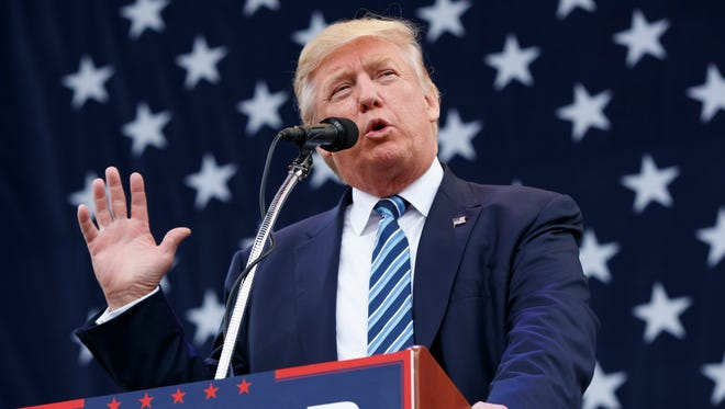 Donald Trump speaks during a campaign rally in Greensboro, N.C., on Oct. 14, 2016.