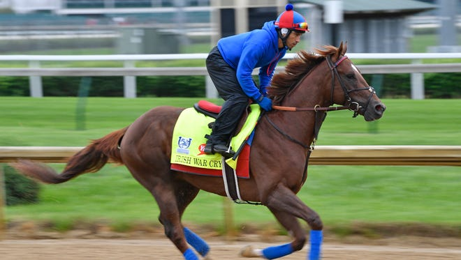 Kentucky Derby entrant Irish War Cry exercises during morning workouts at Churchill Downs.