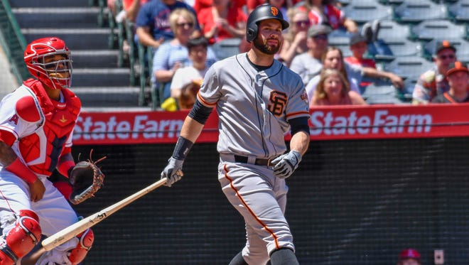 Giants first baseman Brandon Belt fouled off 16 two-strike pitches during his record-breaking 21-pitch at-bat vs. the Angels on Sunday.