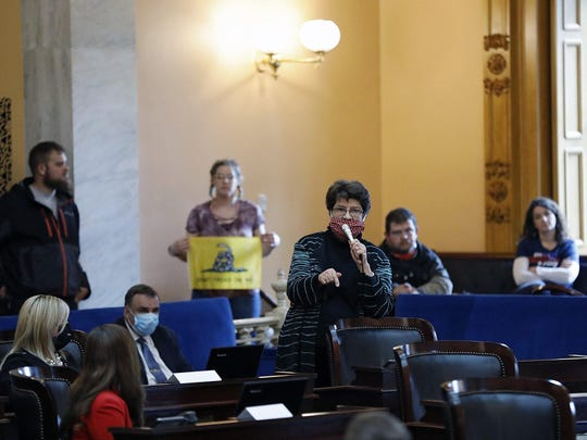 Sen. Peggy Lehner, R-Kettering, speaks against amendments proposed to Senate Bill 1 during a session in the Statehouse on Wednesday.