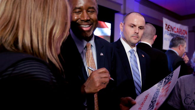 Republican presidential candidate, Ben Carson speaks with supporters during a campaign event at the Noah's Event Venue, Saturday, Jan. 30, 2016 in West Des Moines, Iowa.