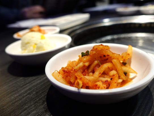 Banchan, small side dishes, at Gen Korean BBQ House.