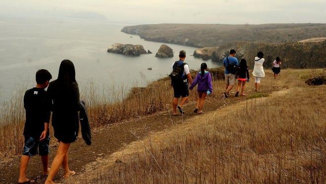 Hikers are treated to spectacular views on Santa Cruz Island.