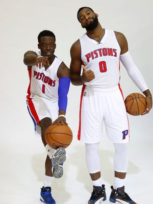 Detroit Pistons' Reggie Jackson, left, and Andre Drummond pose during the NBA basketball team's media day in Auburn Hills, Mich., Monday, Sept. 26, 2016.