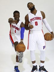 Pistons guard Reggie Jackson, left, and center Andre Drummond pose during media day in Auburn Hills on Sept. 26.