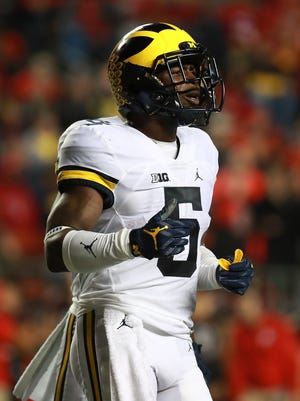 Jabrill Peppers of the Michigan Wolverines reacts during the first half against the Rutgers Scarlet Knights.