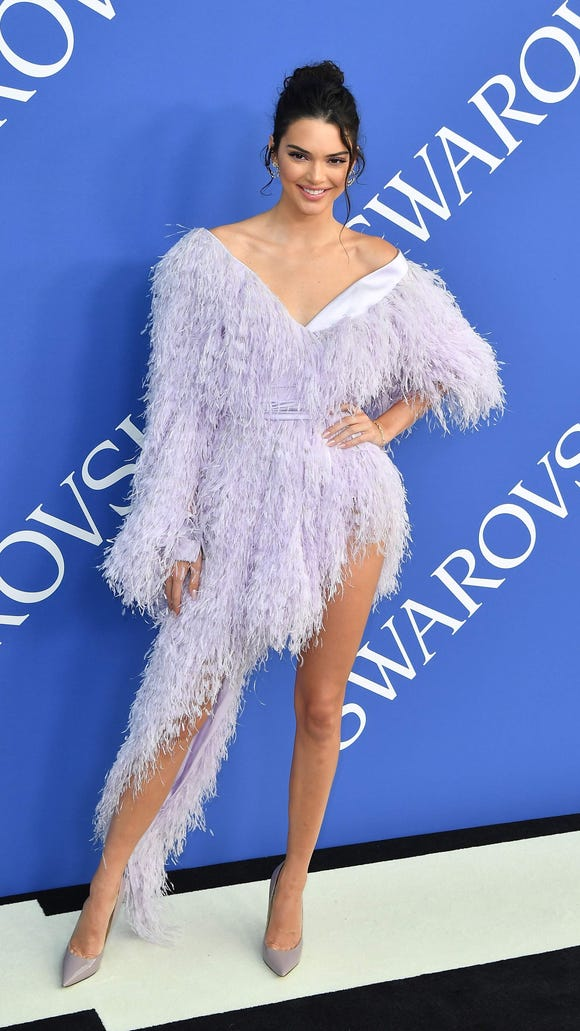 Kendall Jenner in lavender ostrich feathers.
