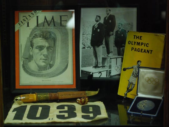 Bob Mathias Olympic memorabilia on display at the Tulare Historical Museum on Monday, July 22, 2012.