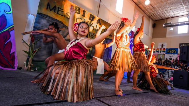 Students perform a cultural dance during a Mes Chamoru, or Chamoru Month, celebration at Okkodo High School in Dededo on Friday, Mar. 2, 2018. A chronological fashion show was also held, featuring clothing worn by Chamoru people in ancient times through today.