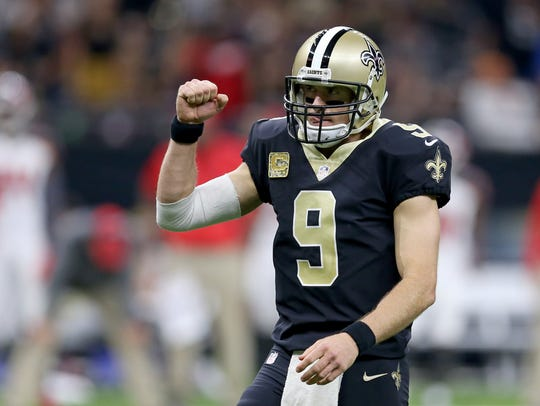 Drew Brees has been sacked only eight times for 56
