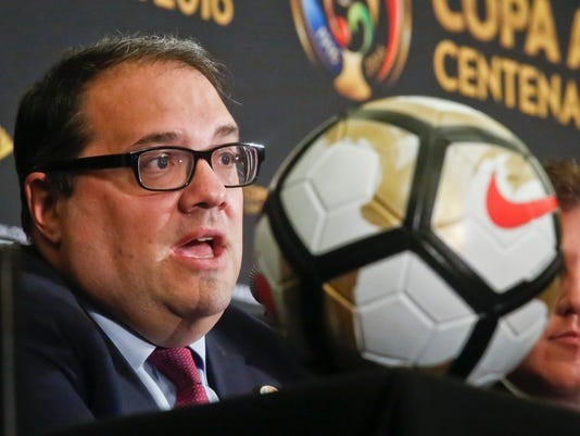 "FILE - In this June 24, 2016, file photo, CONCACAF President Victor Montagliani speaks during a news conference in New York. The United States, Mexico and Canada are going to announce a joint bid for the 2026 World Cup on Monday, a person familiar with the decision said. The confederation made the final decision to go ahead with the bid at its meeting Saturday, April 8, 2017, in Aruba, the person said, speaking on condition of anonymity because the bid will not formally be announced until Monday in Manhattan. In a news release, CONCACAF said the countries will be making a ""historic announcement."" (AP Photo/Bebeto Matthews, File)"