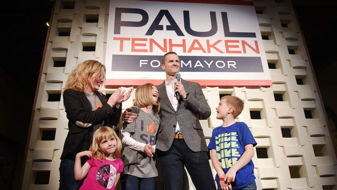 Paul TenHaken address his supporters with his wife Jill, his daughters Nora and Jade and his son Max Tuesday, May 1, after the results come in for the Mayoral Elections in Sioux Falls.