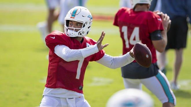 Miami Dolphins quarterback Tua Tagovailoa (1) at training camp.