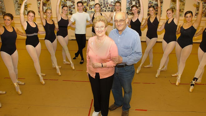 Charlotte Klein, shown here here with her husband, Ben, celebrating the Charlotte Klein Dance Studio's 55th anniversary in 2008 in Worcester. Charlotte Klein died Wednesday at her daughter's home in California.