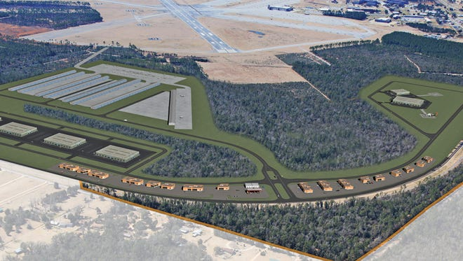 An artist rendering of completed construction at Whiting Aviation Park.