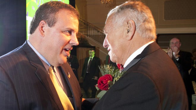 Gov. Chris Christie is shown talking with the former state Sen. Raymond Bateman in 2010.