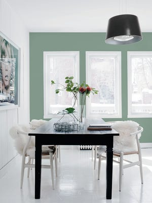 This photo provided by PPG shows PPG Paints' 2016 color of the year, Paradise Found, a complex, leafy hue.  Green is a trending color this spring as people respond to wellness trends and the need for calmness in a hectic world. (Angus McRitchie/PPG via AP)