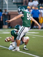 Trinity kicker Sebastion Mata kicks a field goal in the closing minute of the 1st half to give Trinity a 17-0 lead.18 August 2017