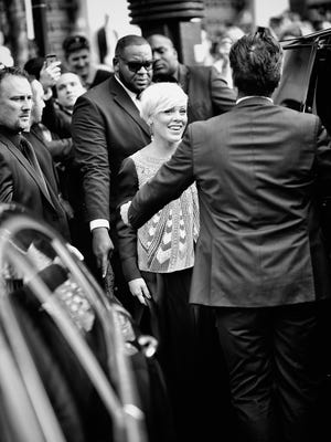 Pink leaves the Giorgio Armani Prive show as part of Paris Fashion Week Haute-Couture Spring/Summer 2014 at Theatre National de Chaillot on July 8, 2014 in Paris, France.