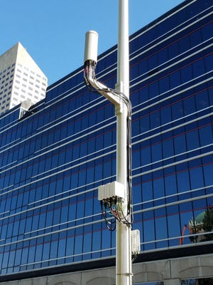 An LTE antenna stands in Downtown Indianapolis.
