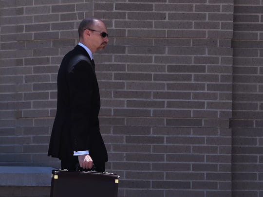Prosecutor Lance Watt arrives at the United States Courthouse in Corpus Christi, TX on Tuesday, May 30, 2017. Several people were charged in a fraud scheme against Koch Pipeline.