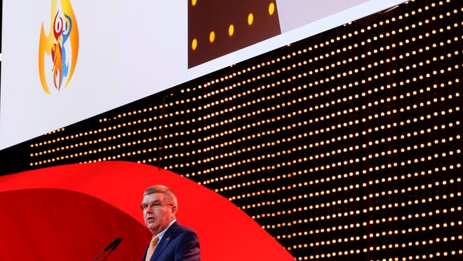 Thomas Bach, president of the International Olympic Committee (IOC) speaks during the presentation for the host city for the 2020 Youth Winter Olympics, in Kuala Lumpur, Malaysia, Friday, July 31, 2015.