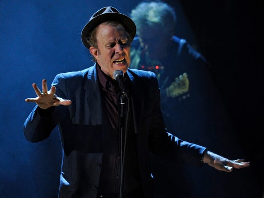 Tom Waits is seen during the 2011 Rock and Roll Hall of Fame induction ceremony.