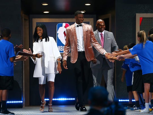 Jaren Jackson Jr. is introduced before the 2018 NBA Draft at the Barclays Center on June 21, 2018 in the Brooklyn borough of New York City.